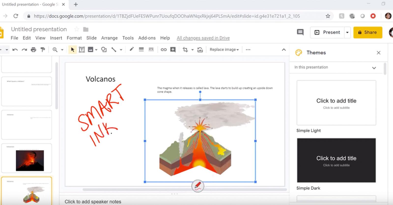 SMART ink og Google Presentasjon